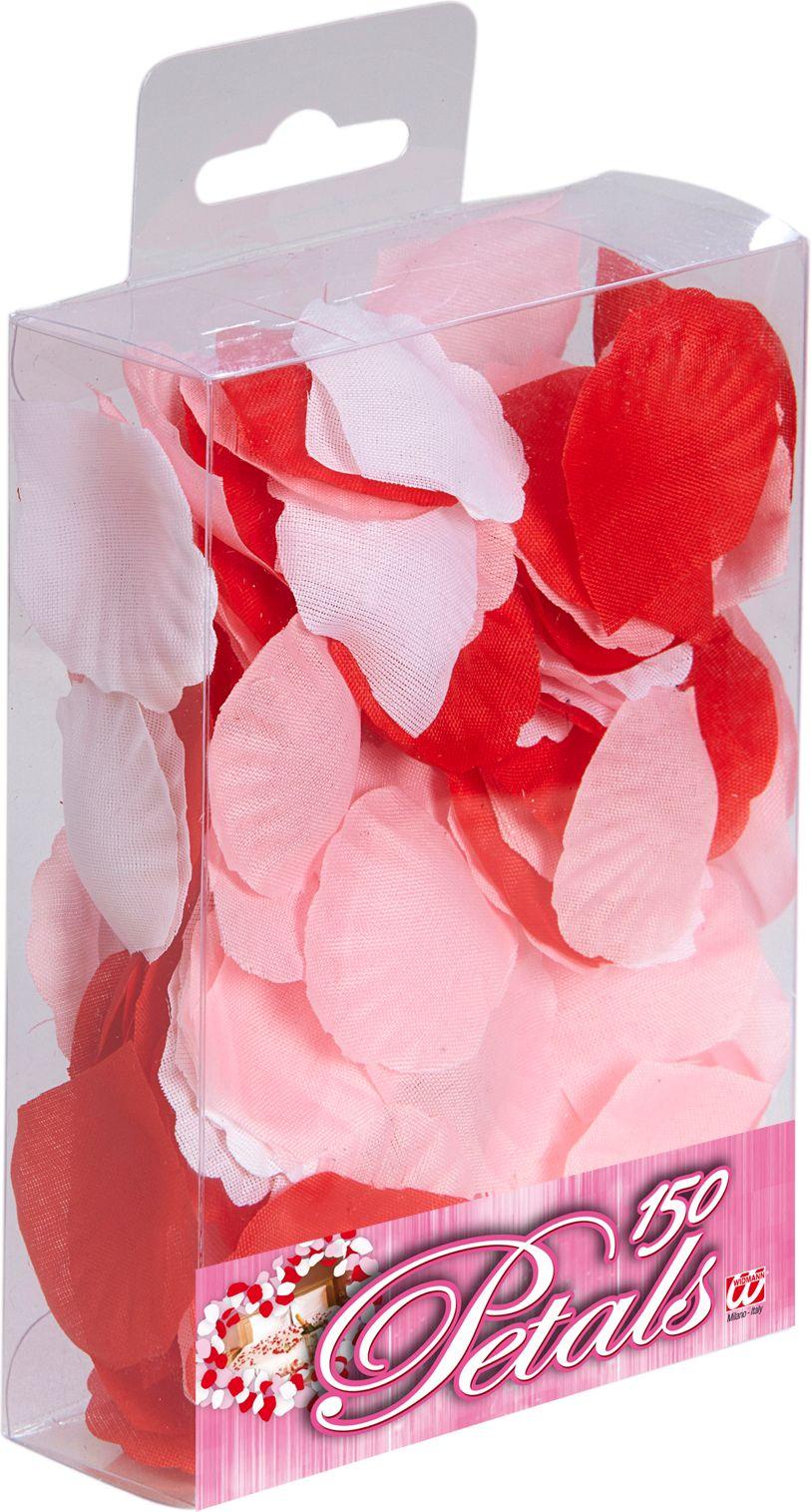 150 rode, roze en witte rozen blaadjes
