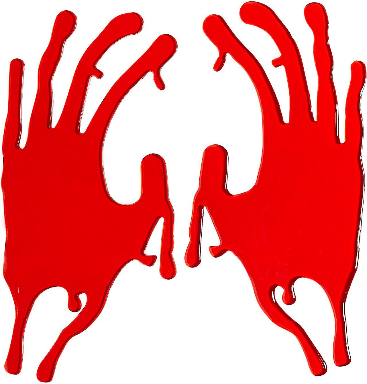 2 bebloede hand raam stickers
