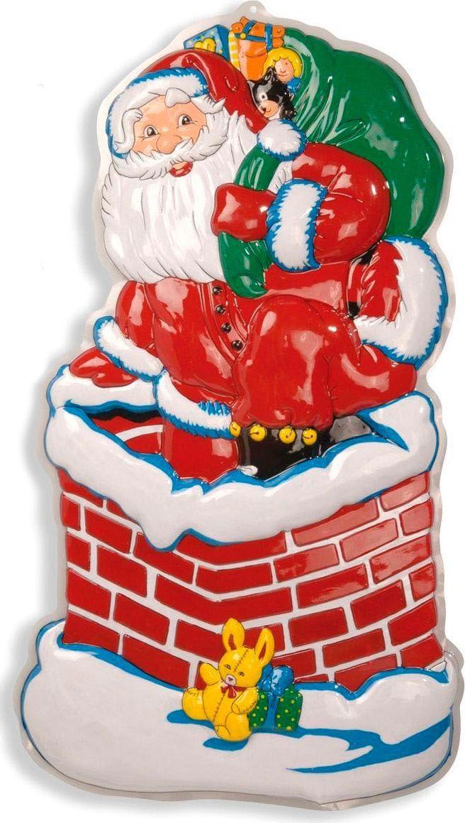 3D kerstman in schoorsteen decoratie