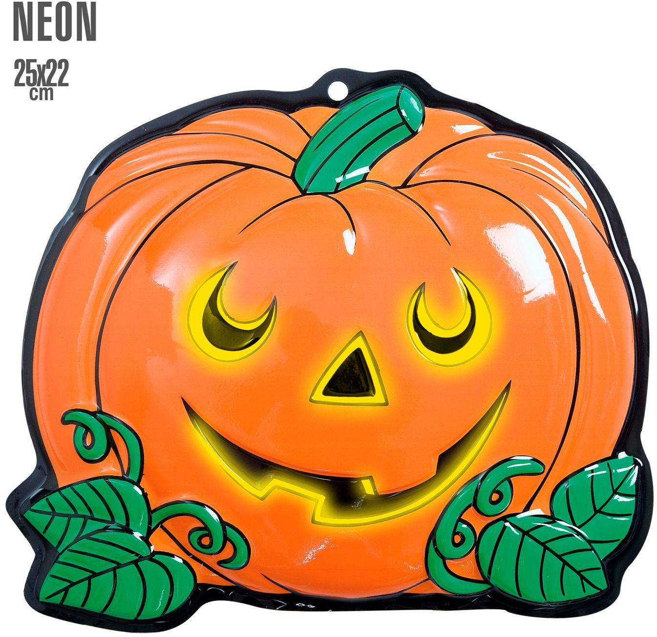 3D neon halloween pompoen