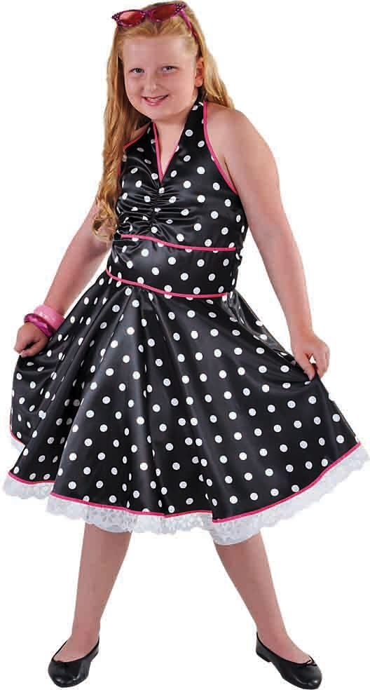 50s jurkje zwart met stippen meisjes