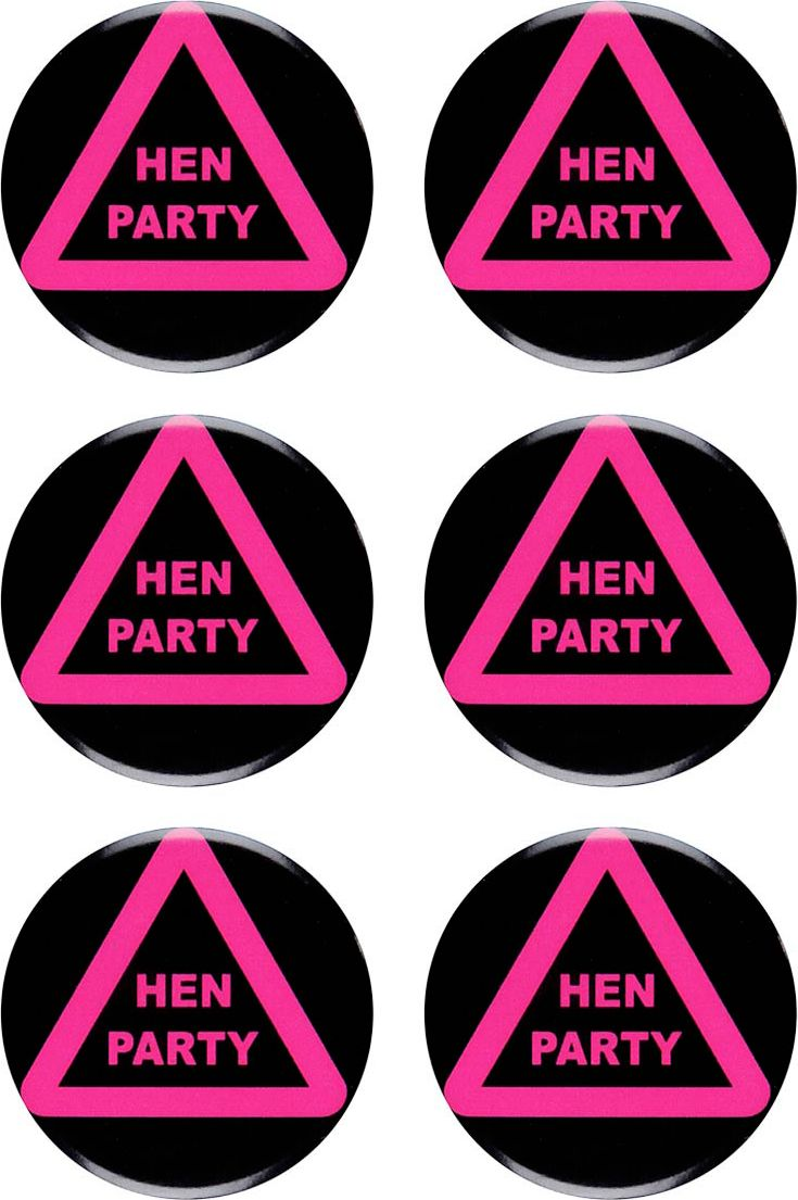 6 Hen party buttons