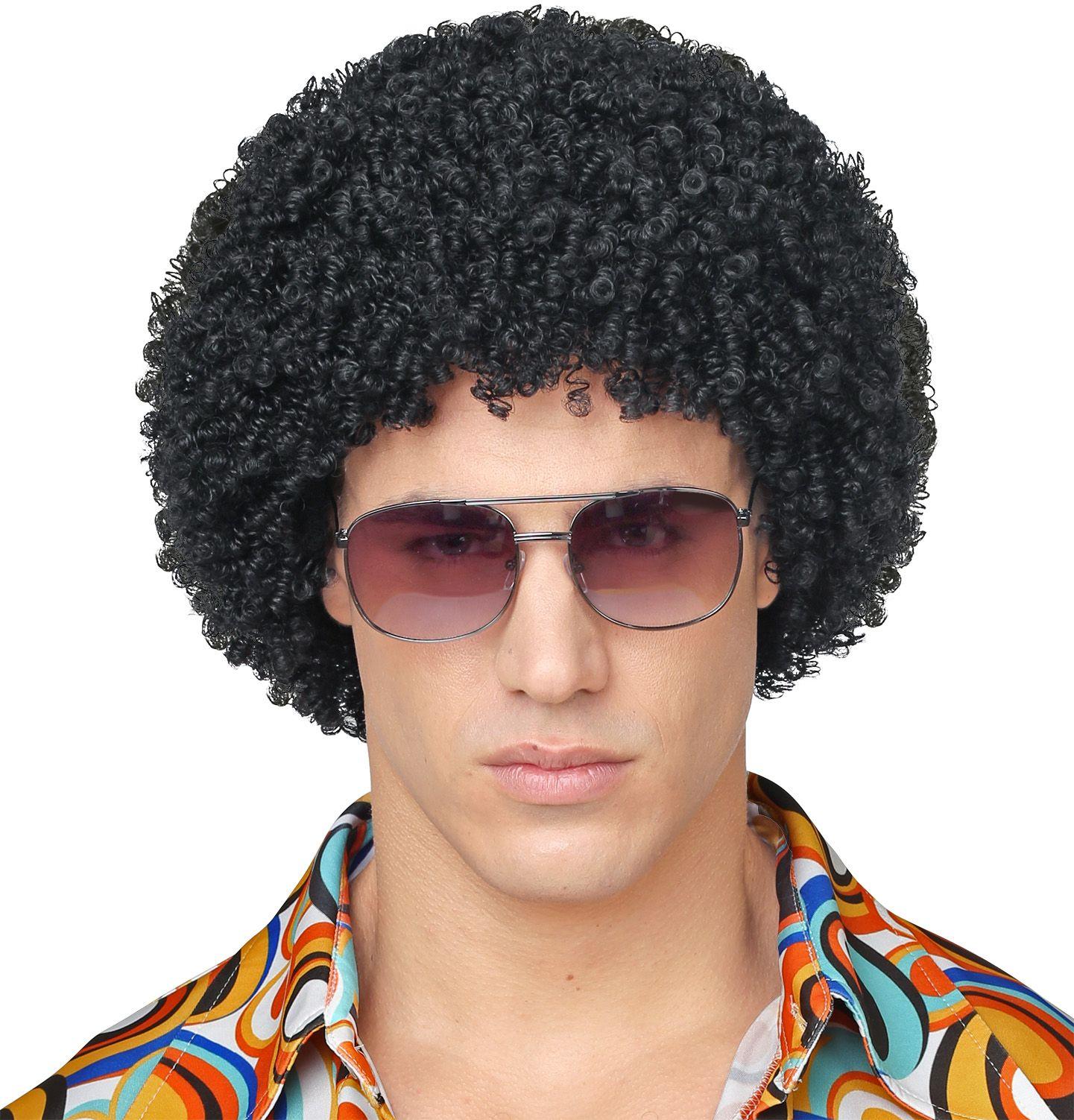 70s disco pruik zwart