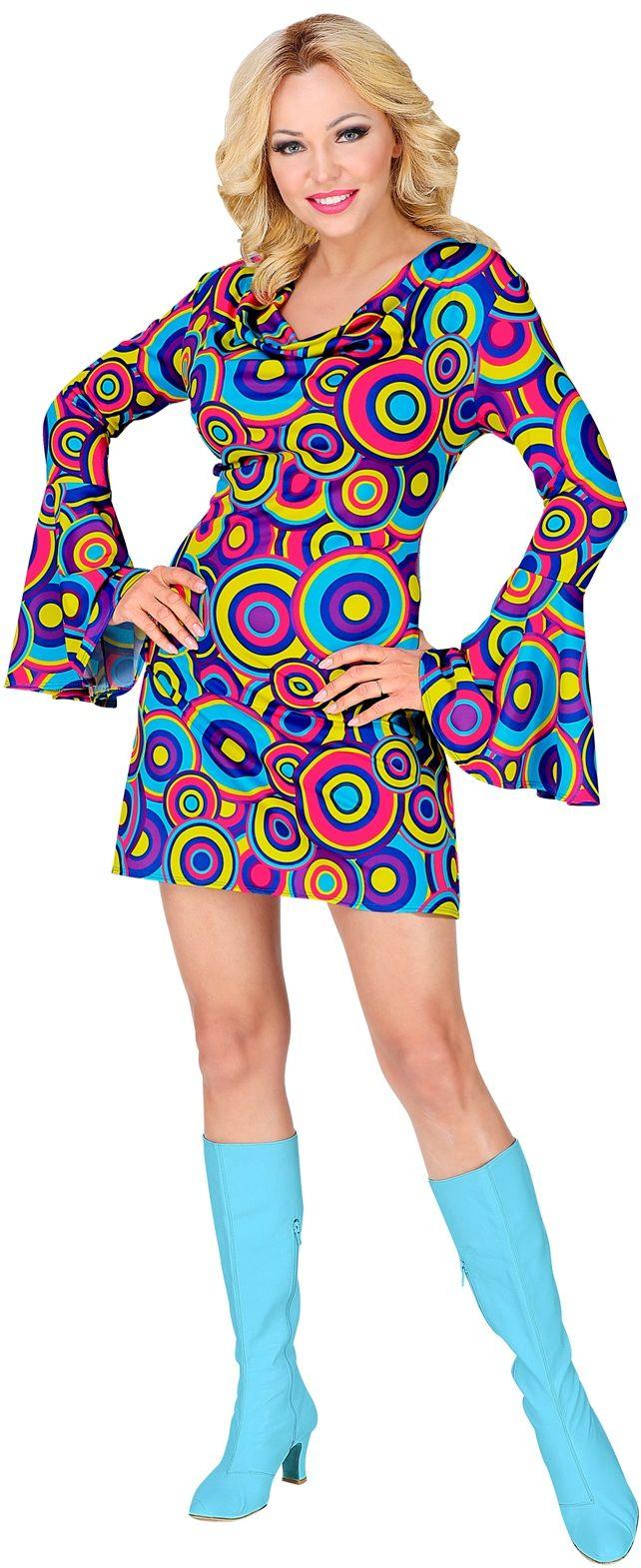 70s jurk vrouwen blauw
