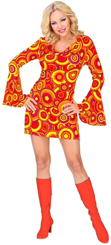 70s jurk vrouwen oranje