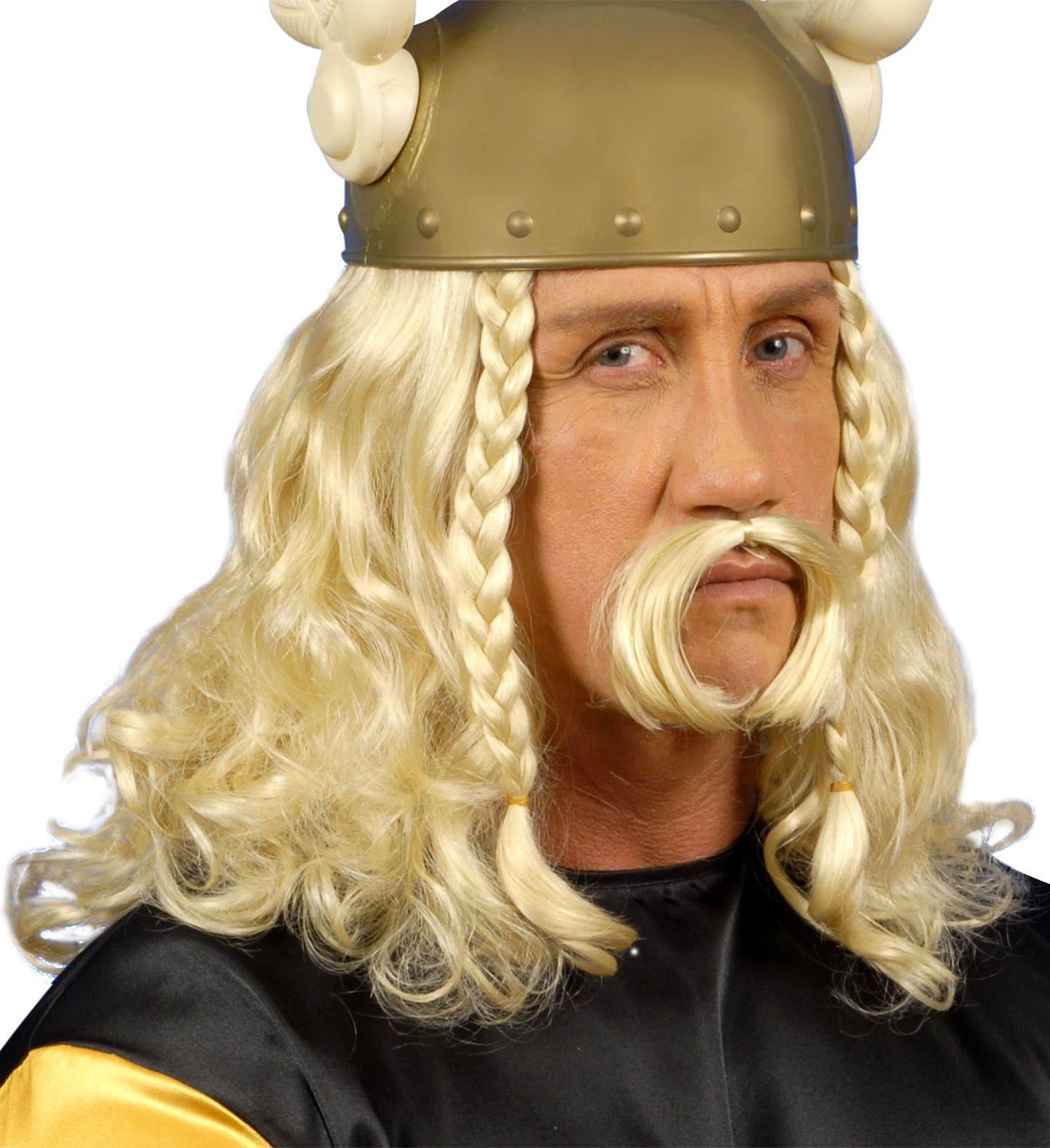 Asterix pruik met snor