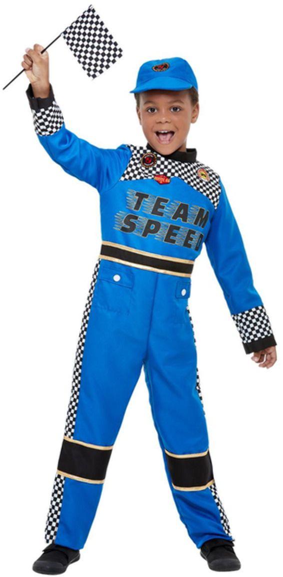 Autocoureur blauw outfit jongens