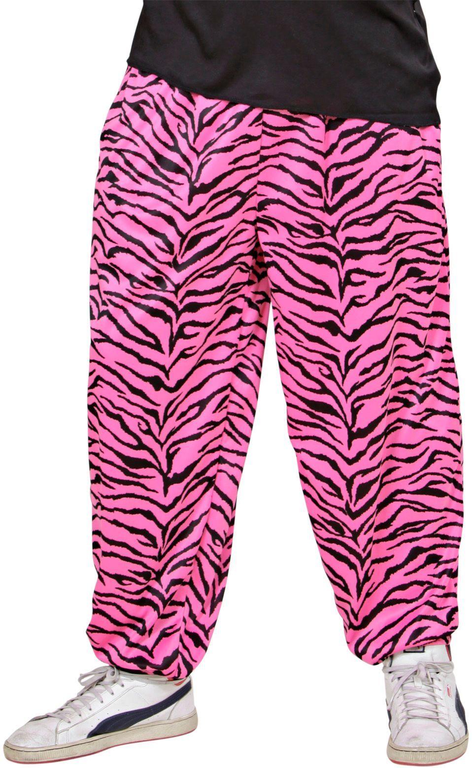 Baggy 80S zebra roze broek