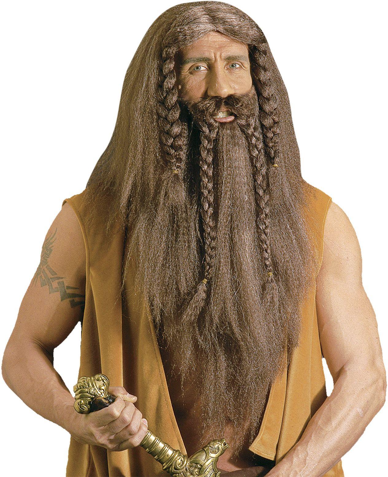 Barbaar pruik met baard en snor