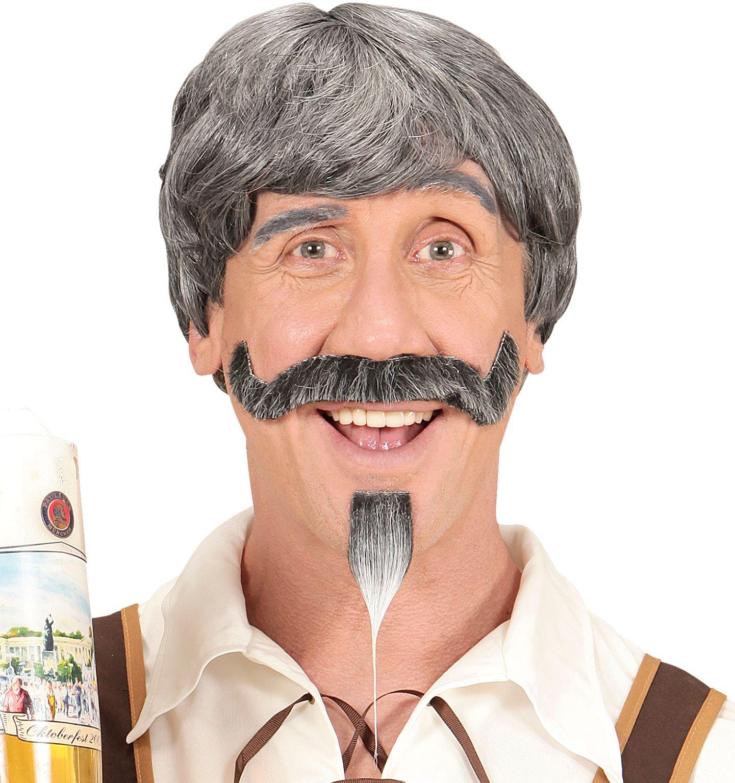 Beierse pruik met snor en sik