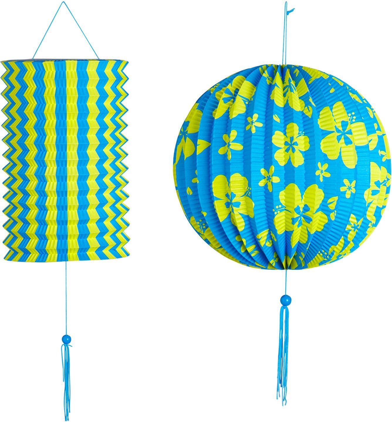 Blauw gele papieren bal met lantaarn
