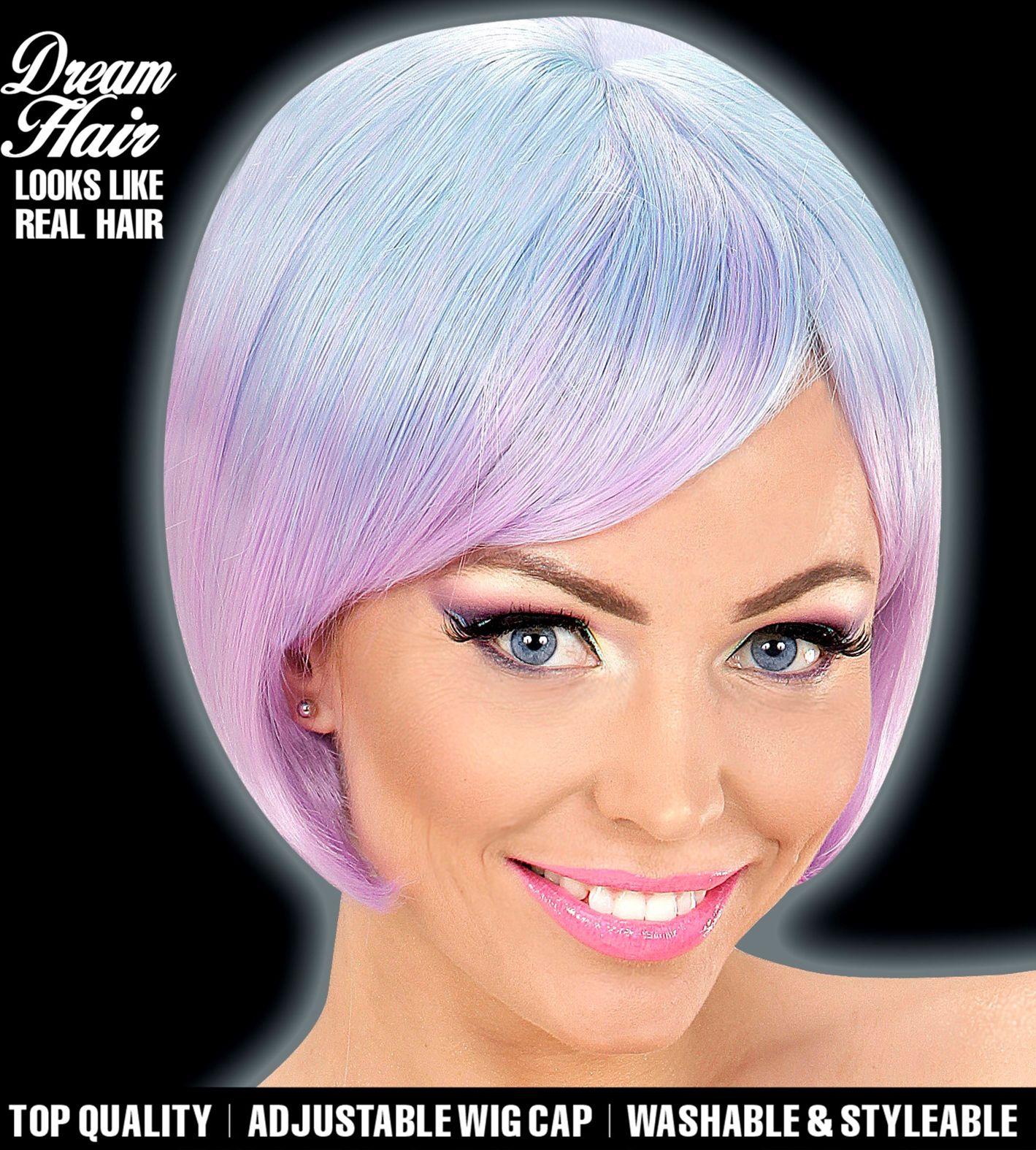 Blauw paarse carnavals pruik dames
