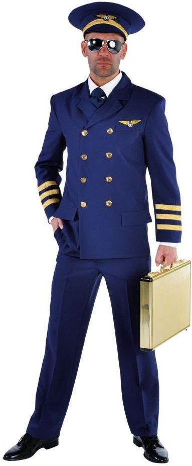 Blauw piloot kostuum mannen