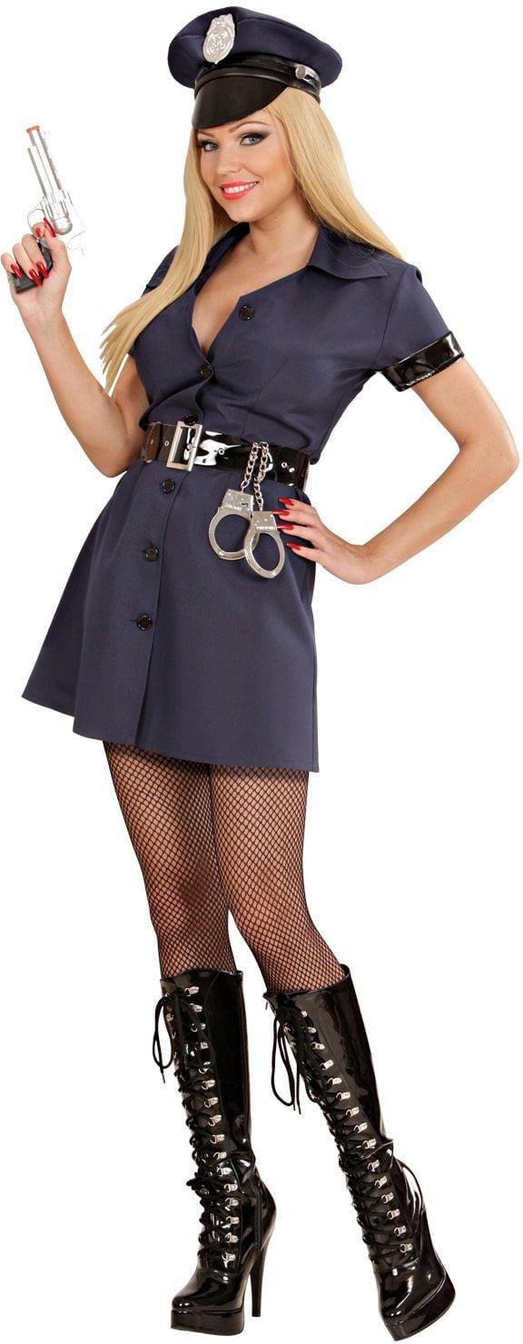 Blauw politie vrouw kostuum