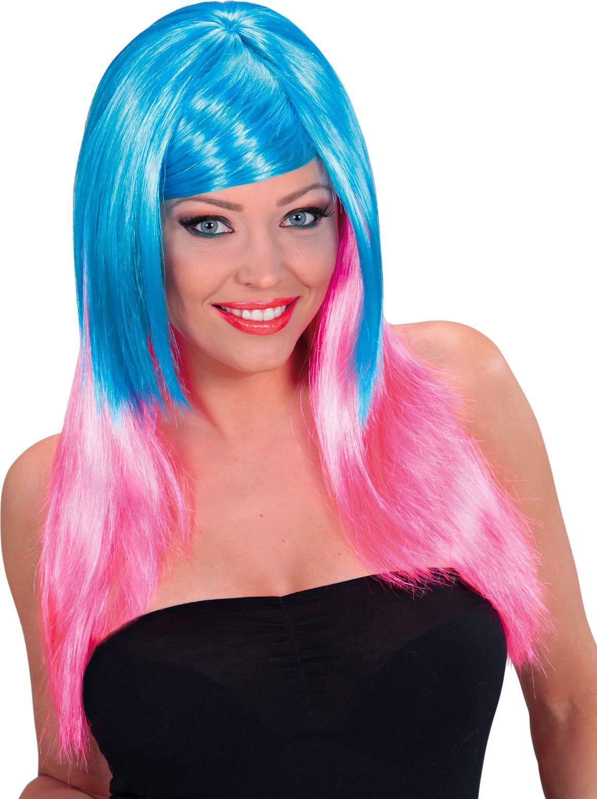 Blauw-roze pruik lang haar