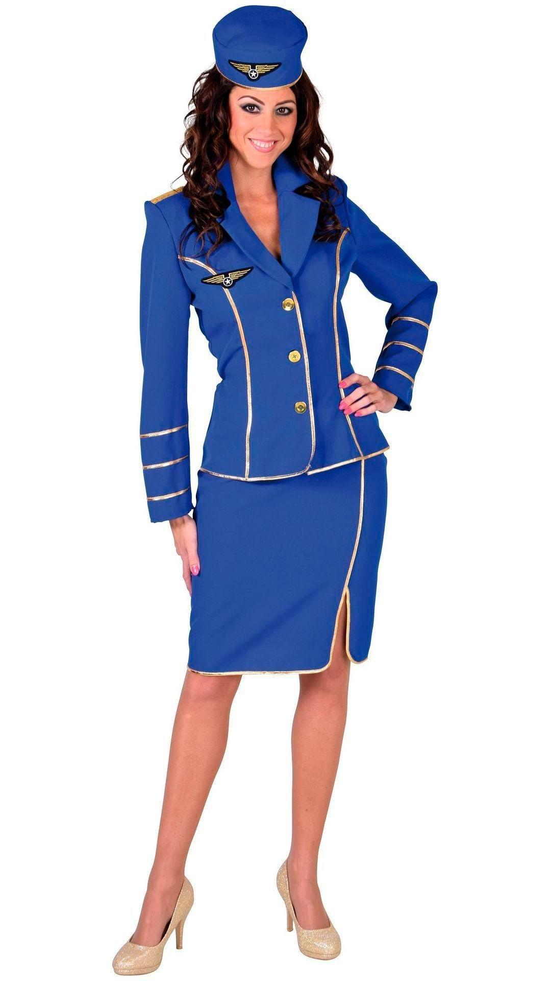 Blauw stewardess outfit dames