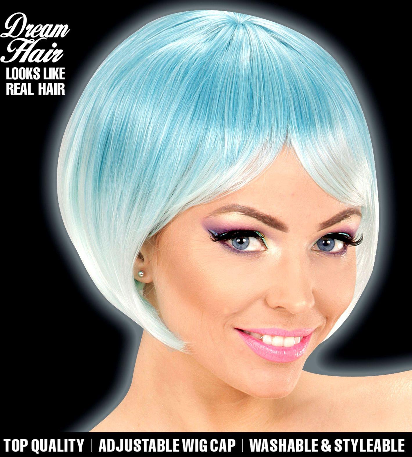 Blauw turquoise carnavals pruik dames