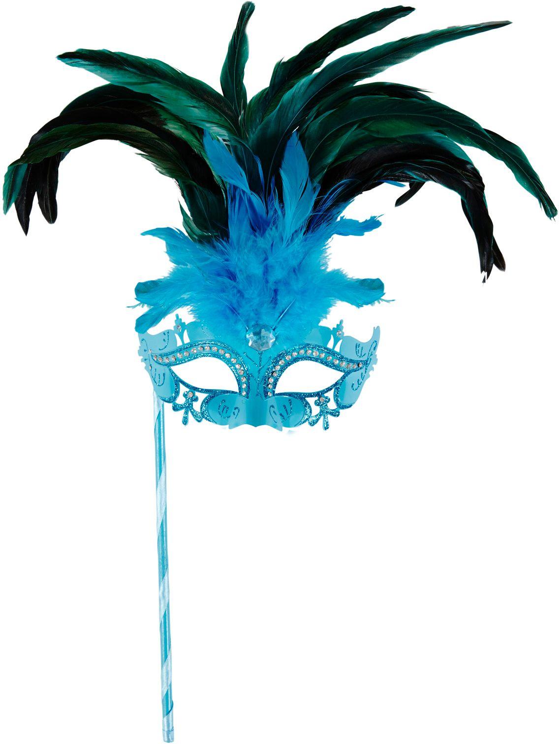 Blauw venetiaans masker op stokje