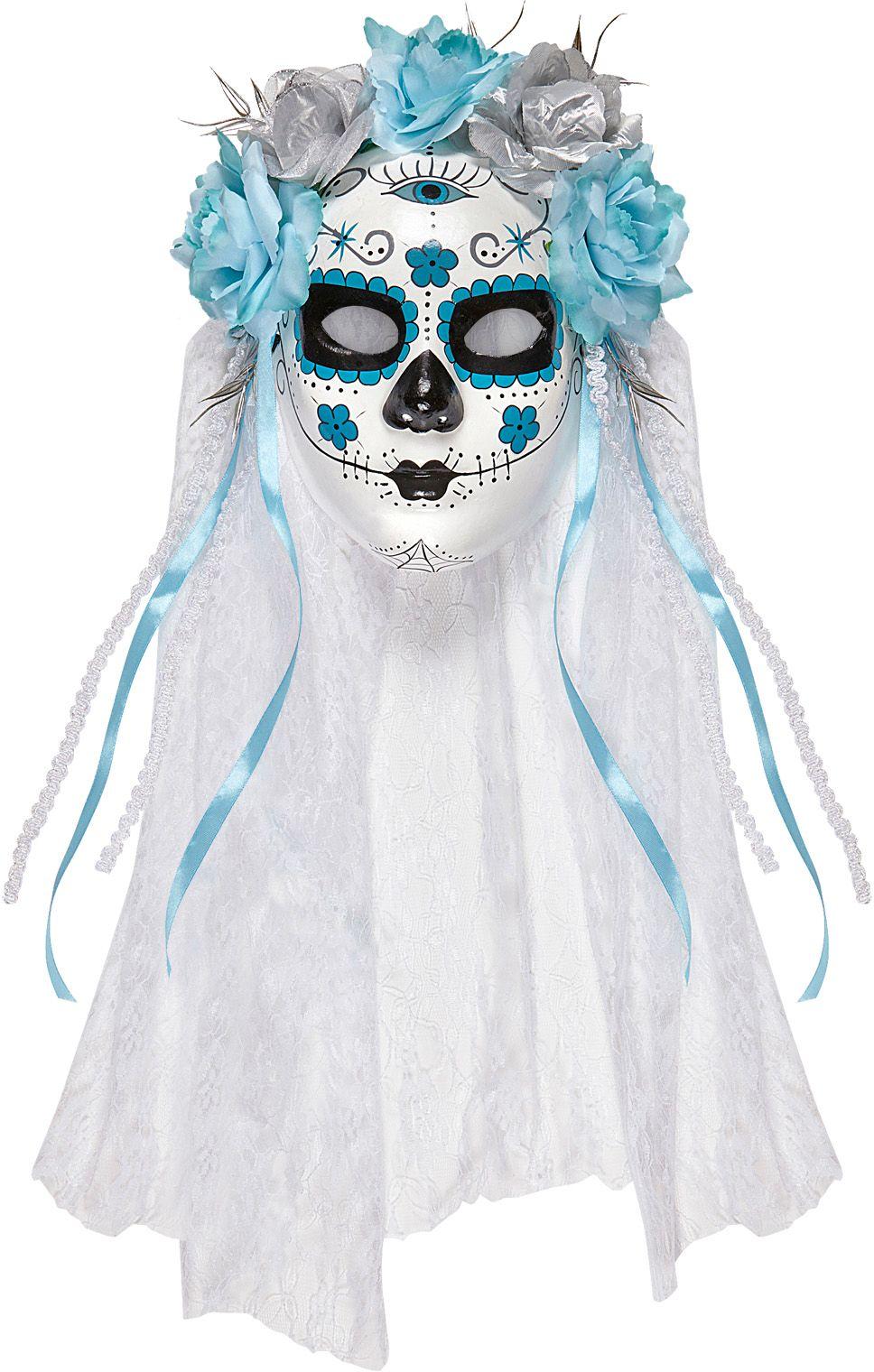 Blauw wit dia de los muertos masker met sluier