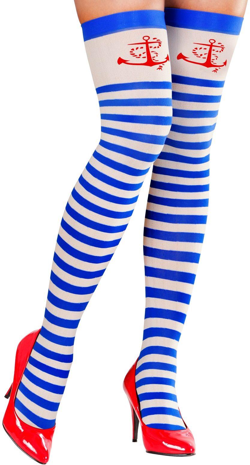 Blauw wit gestreepte marine kousen