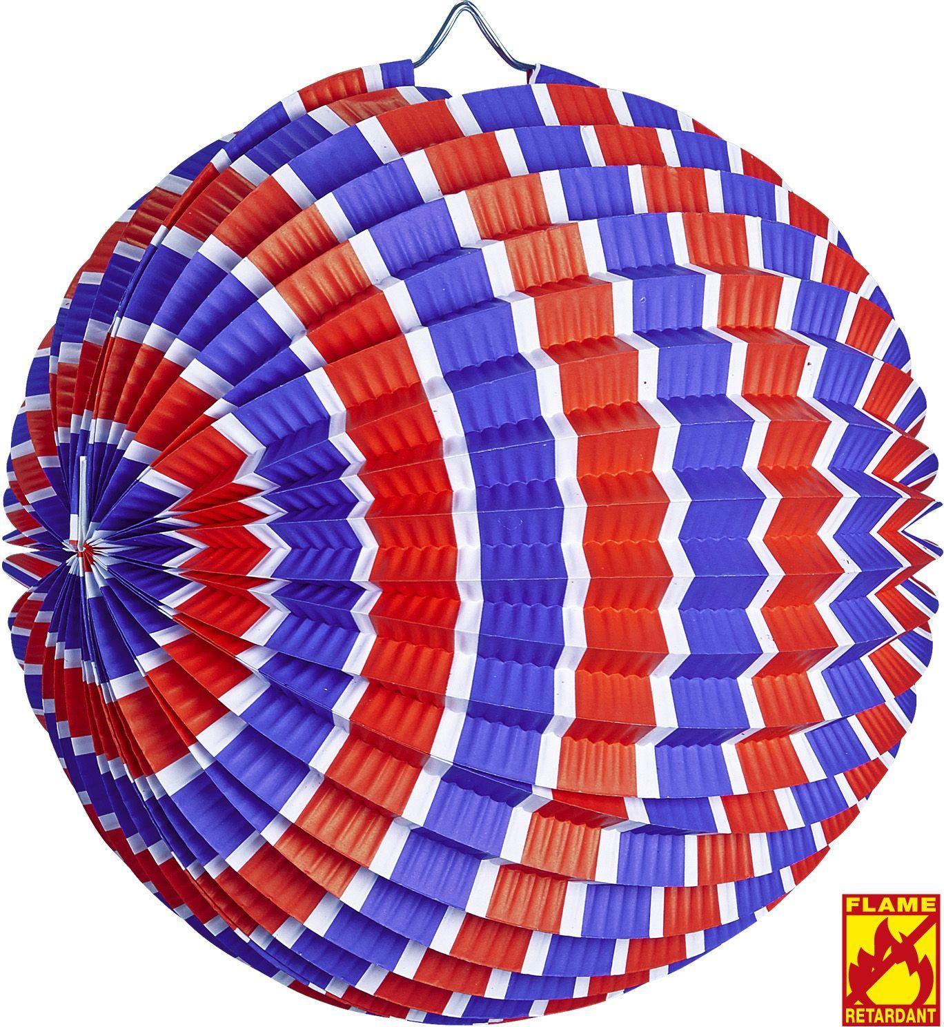 Blauw wit rood gestreepte papieren bal