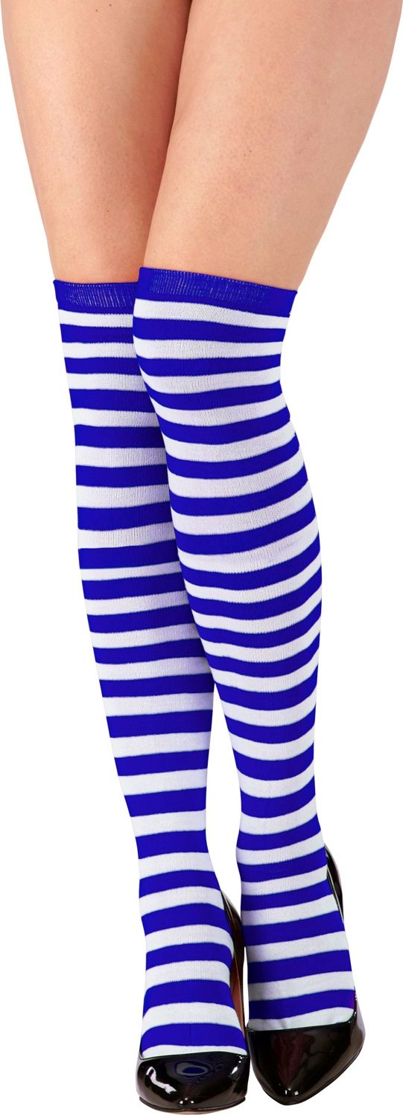 Blauw witte kniekousen Pippi Langkous