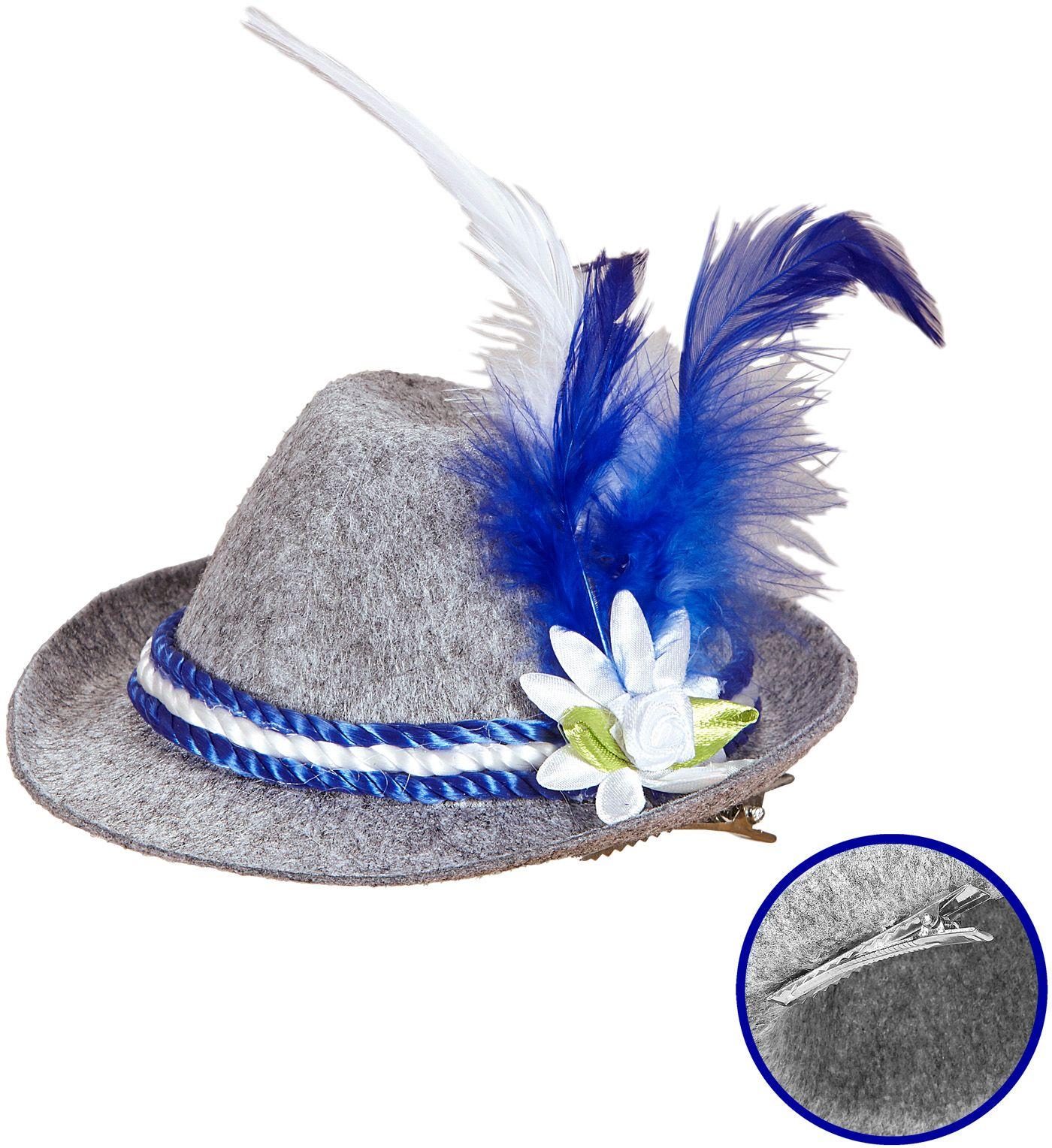 Blauwe beierse mini fedora