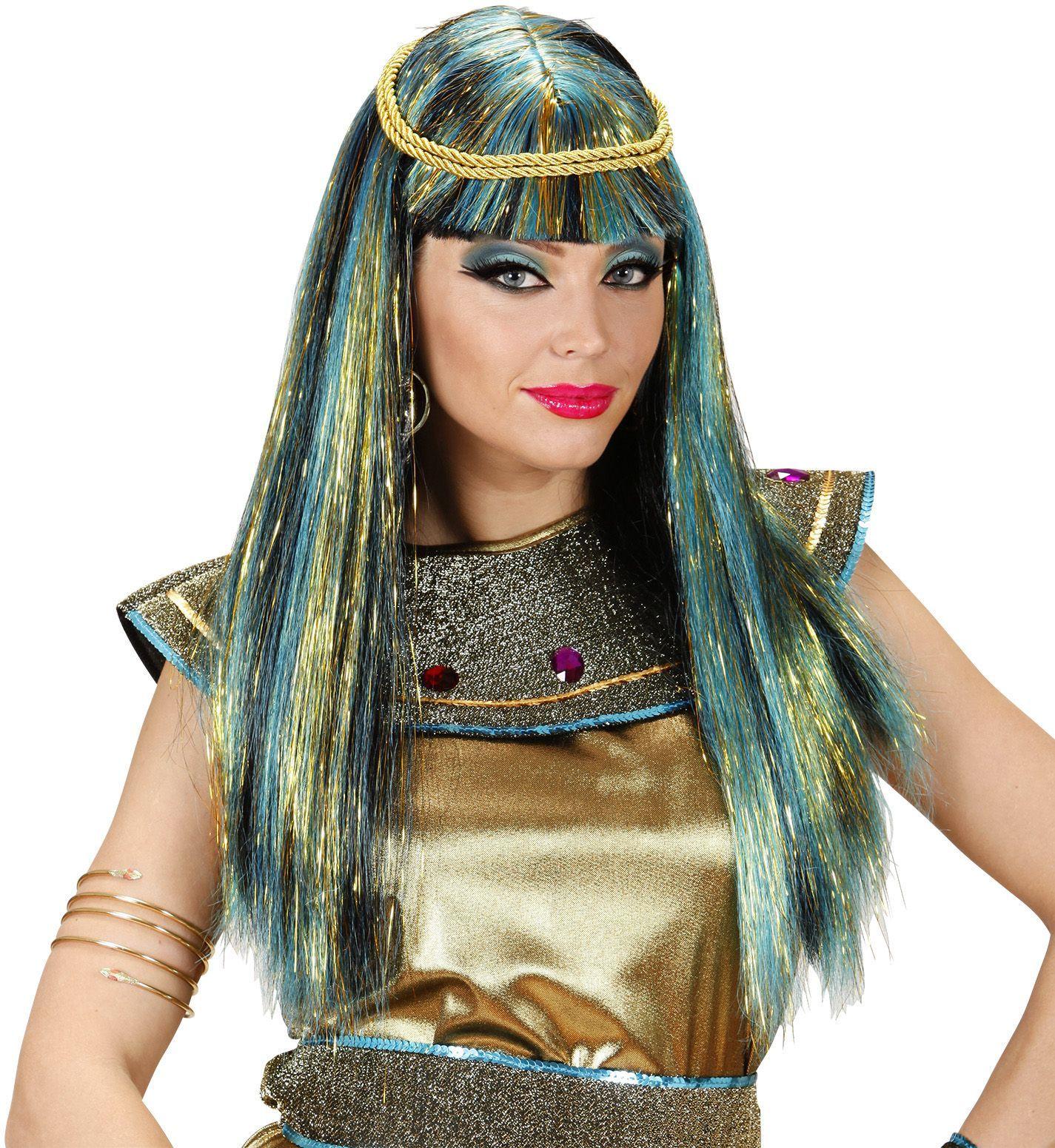 Blauwe Cleopatra pruik