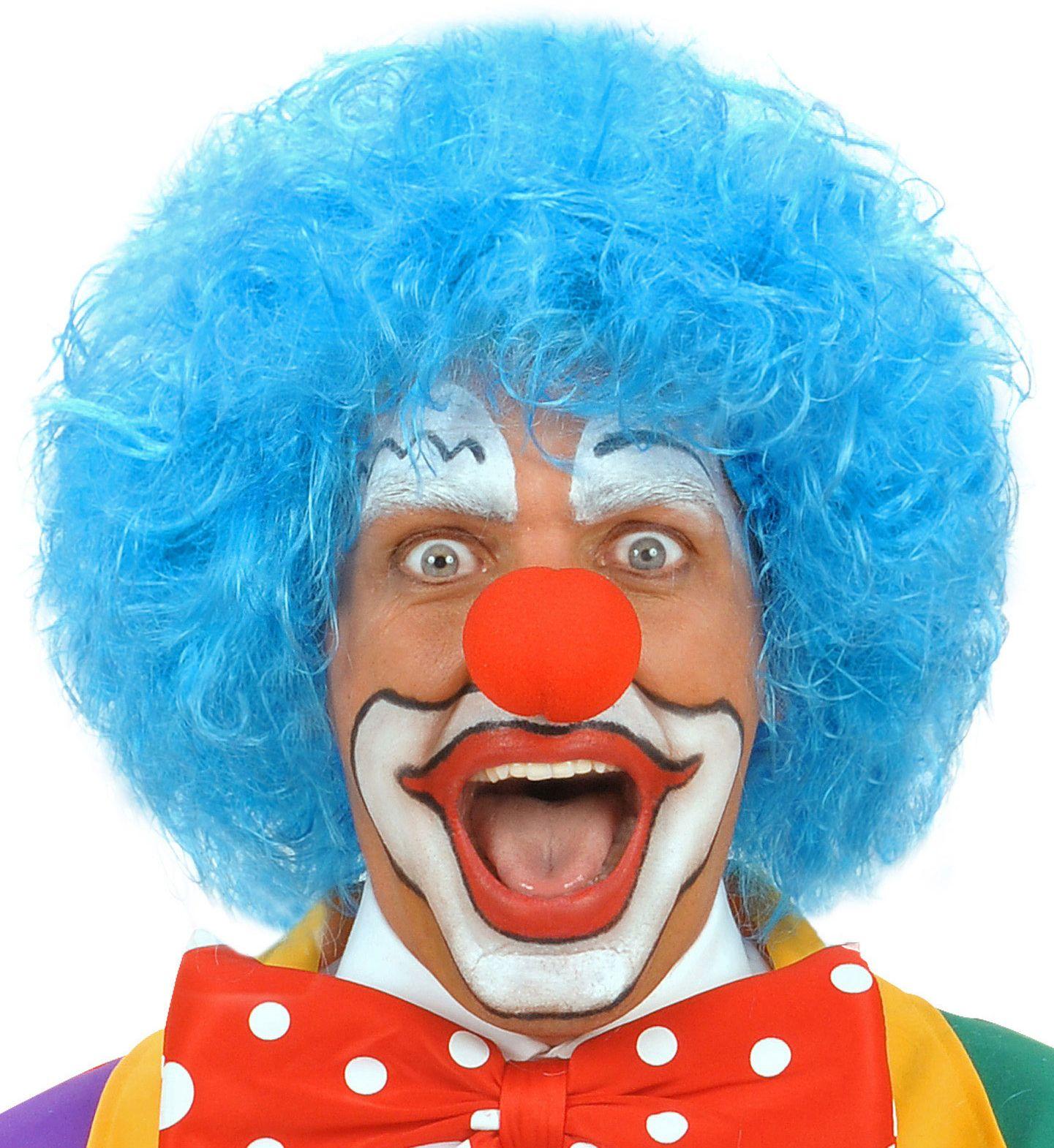 Blauwe clown pruik