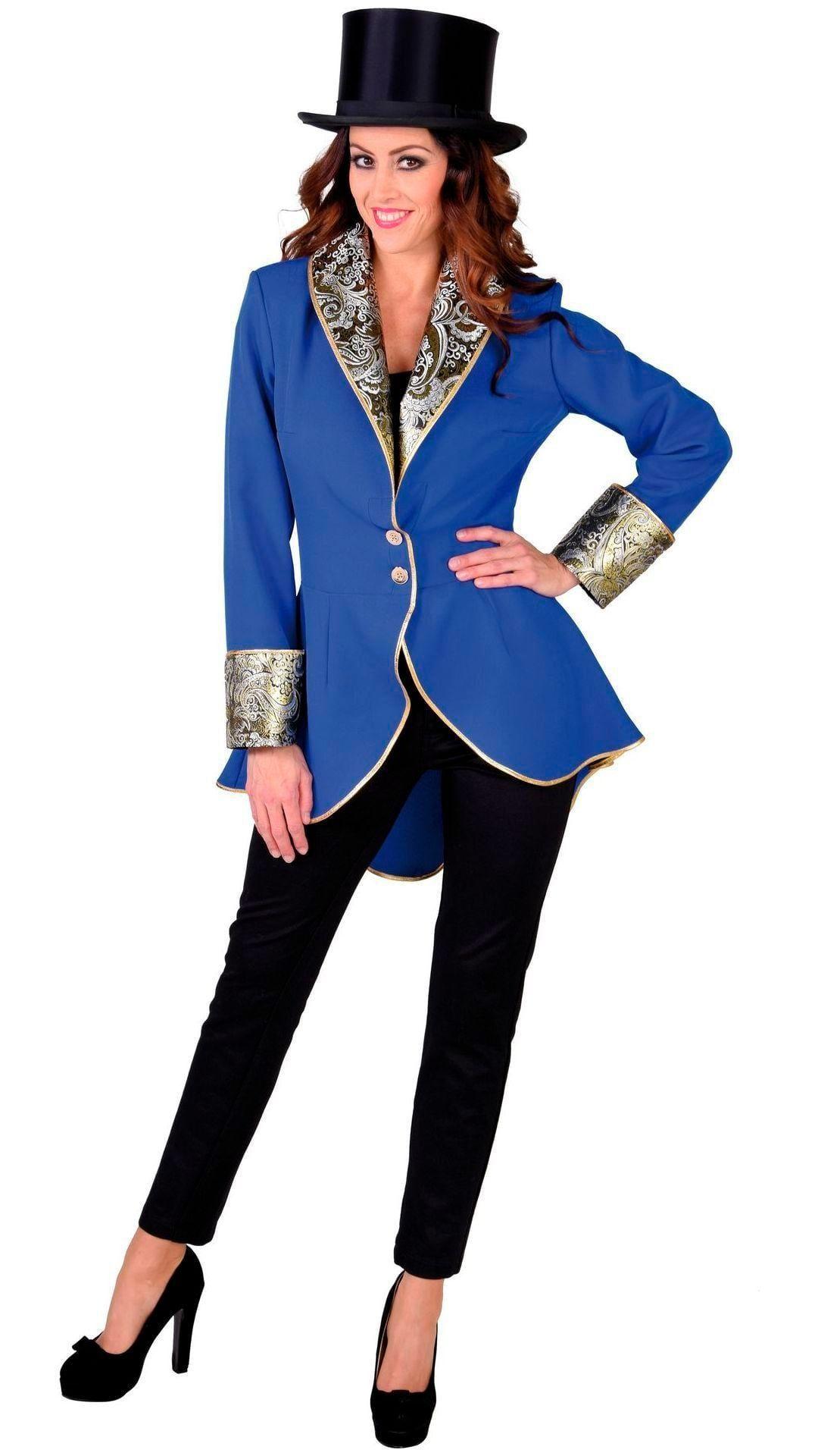 Blauwe dames carnavals jas