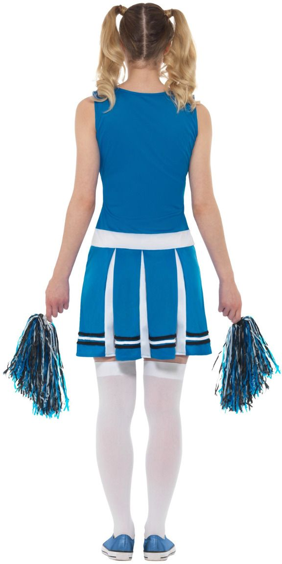 Blauwe dames cheerleader jurkje