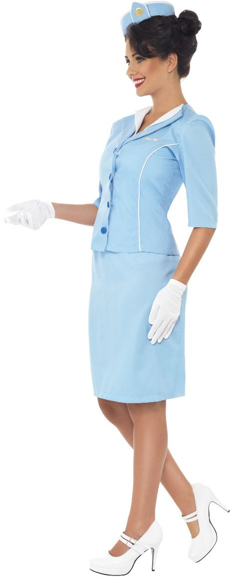 Blauwe dames stewardess kostuum