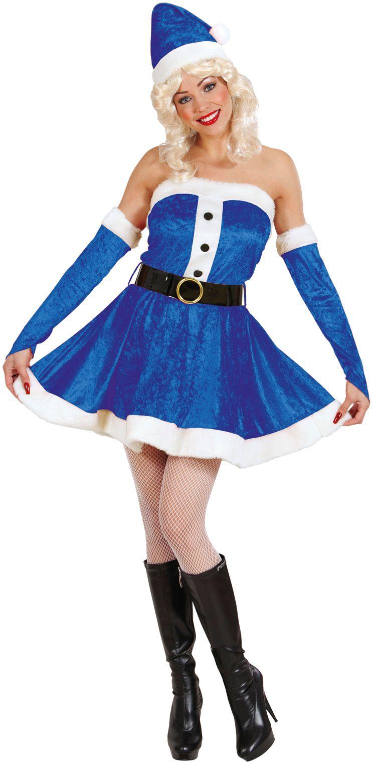 Blauwe fluwelen kerstvrouw kostuum