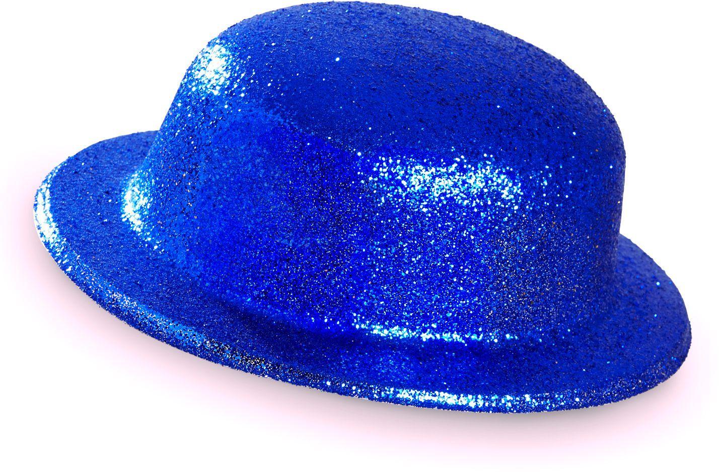 Blauwe glitter bolhoed