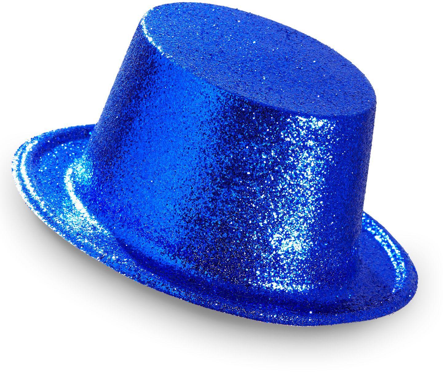 Blauwe glitter hoge hoed