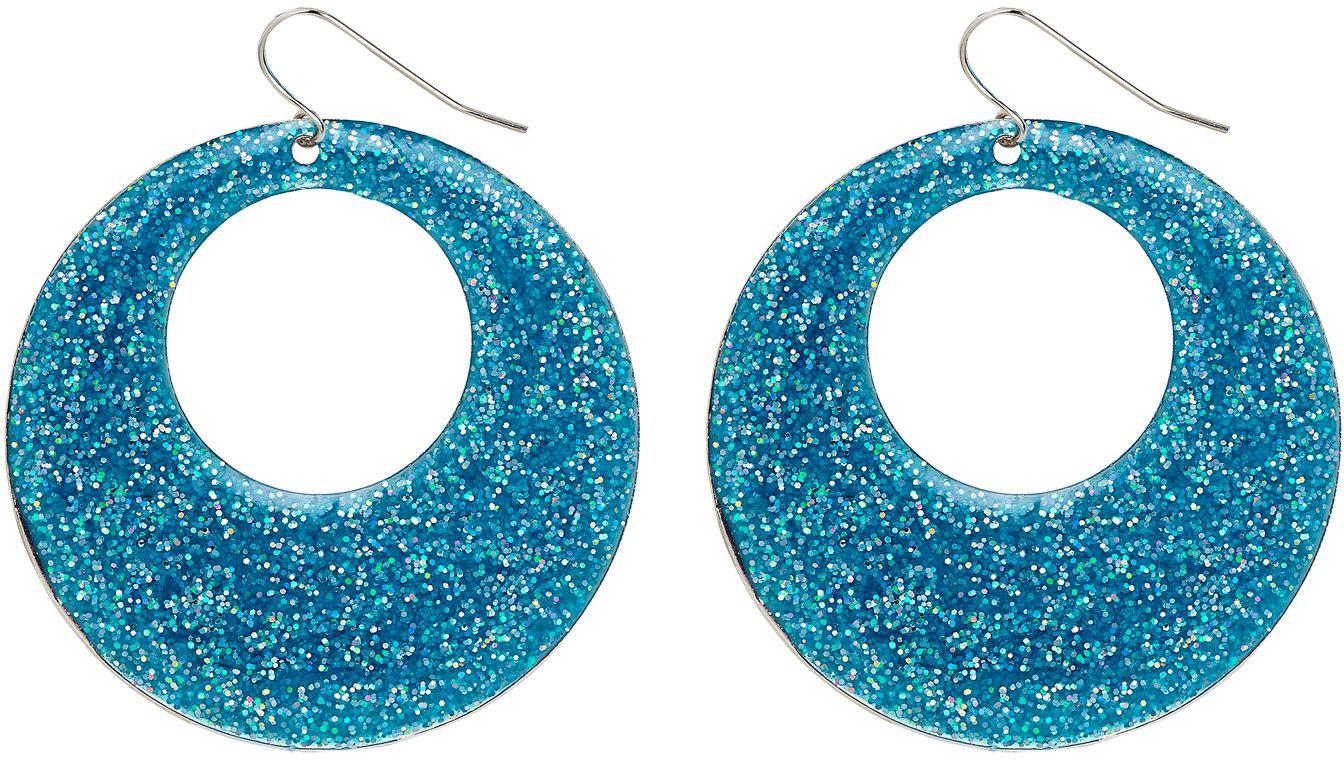 Blauwe glitter oorbellen