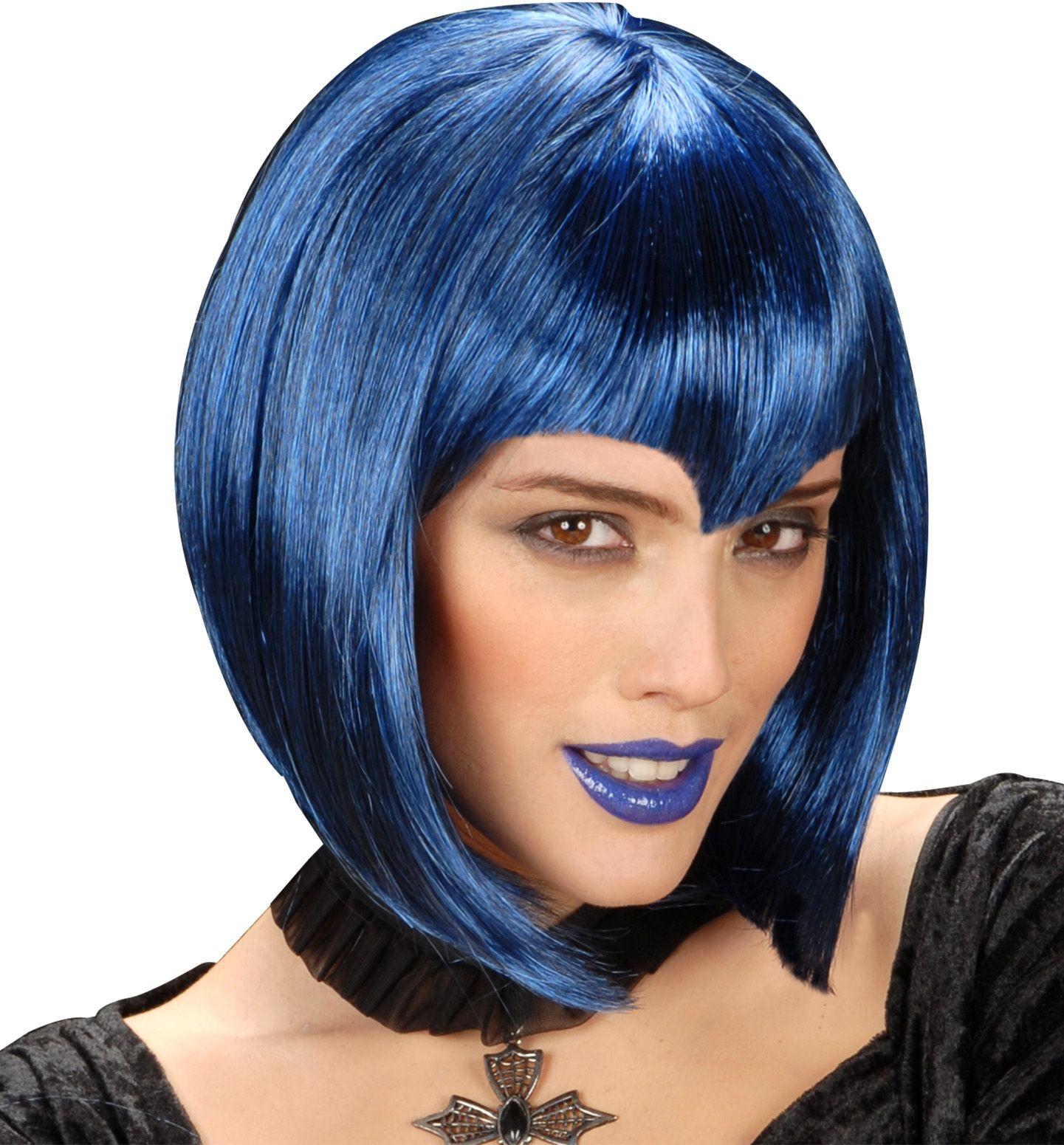 Blauwe gothic pruik