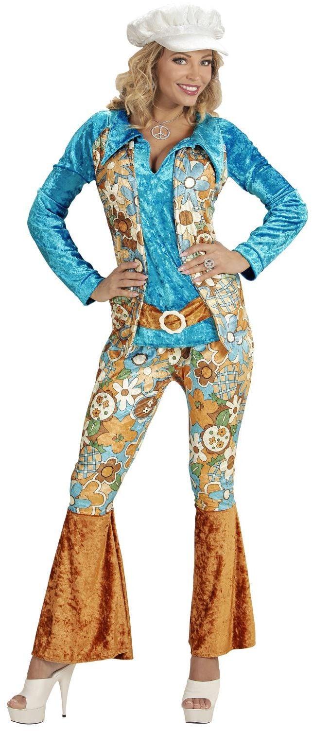 Blauwe Hippie Vrouw kostuum