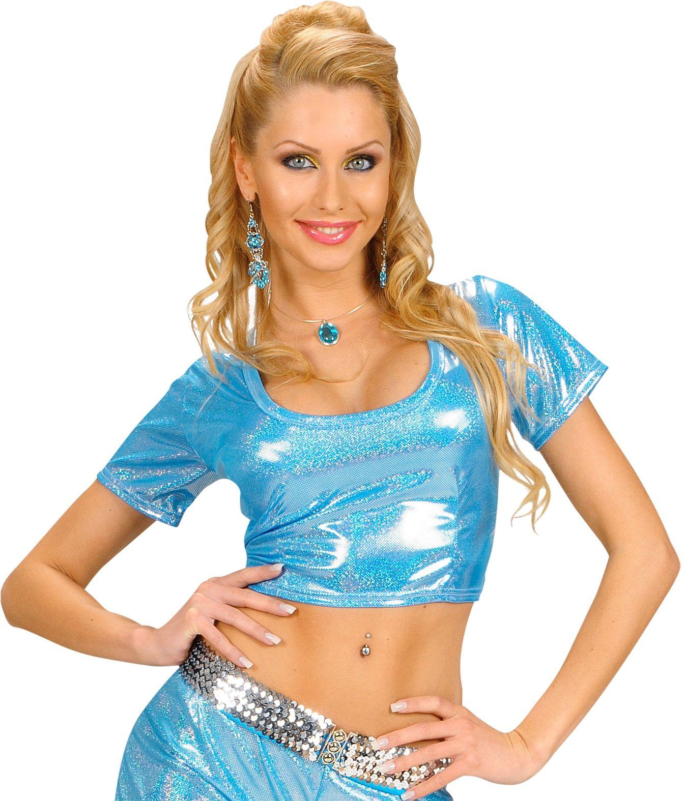 Blauwe holografische top