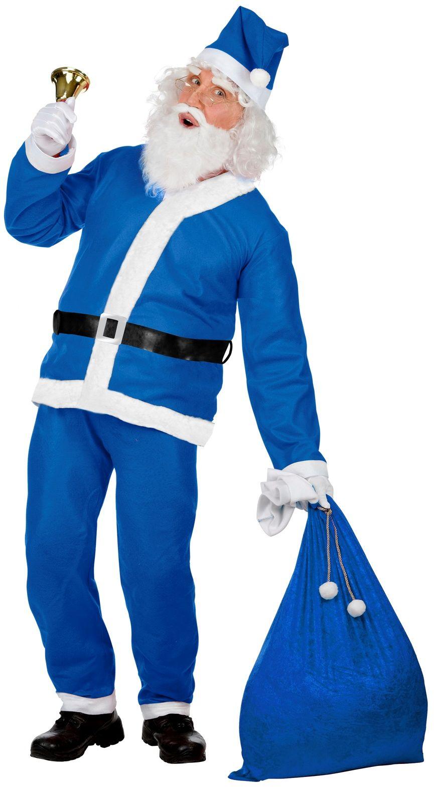 Blauwe kerstman pak