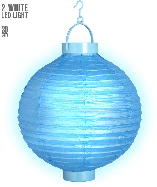 Blauwe lantaarn met 2 witte LED lichten