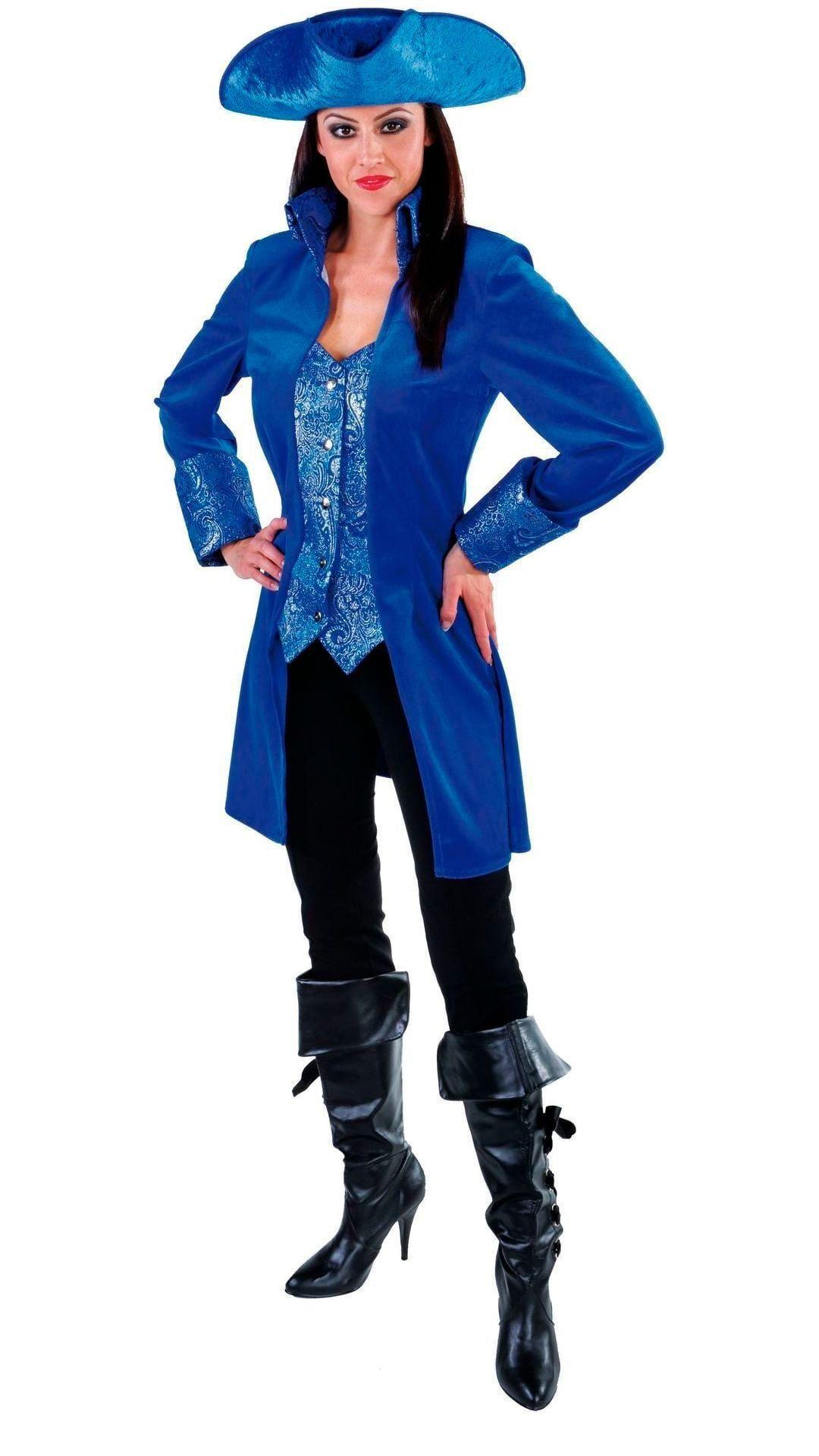 Blauwe markiezin jas dames