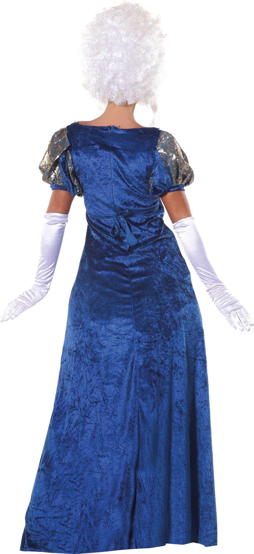 Blauwe markiezin jurk
