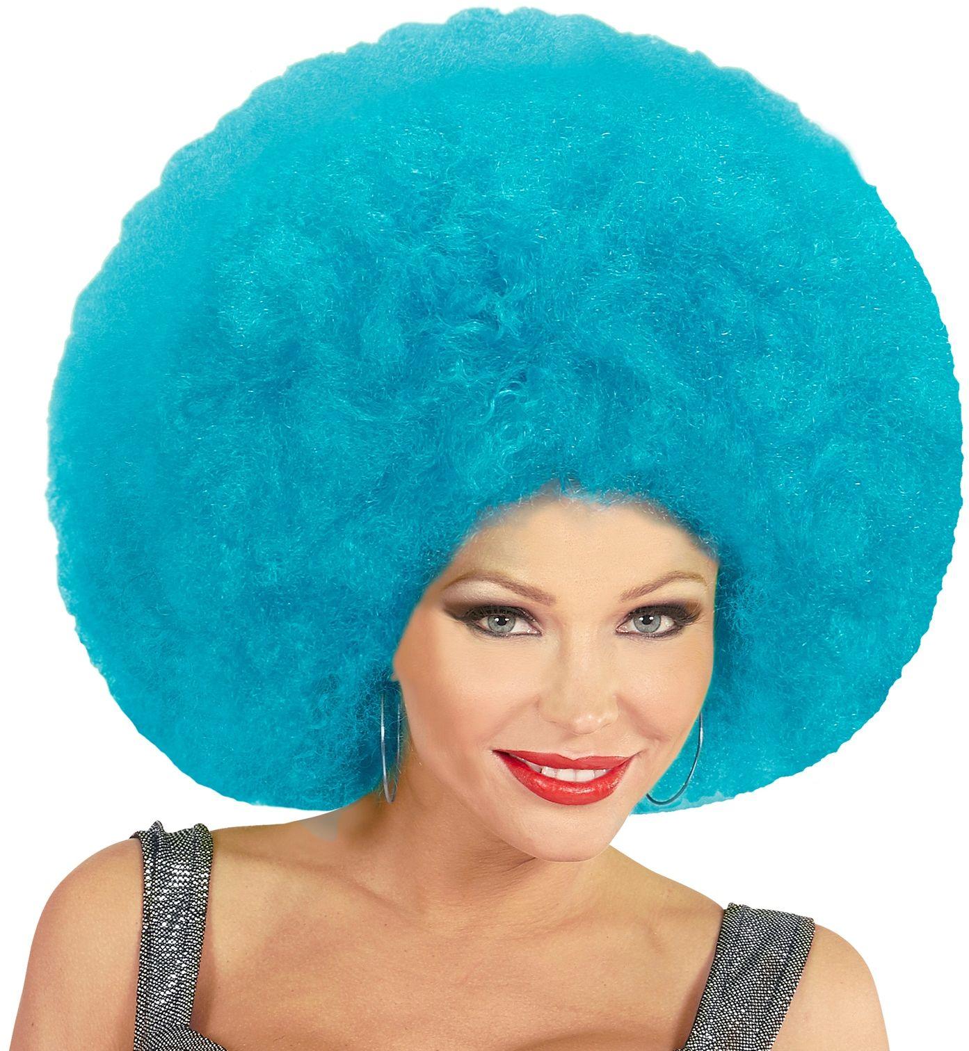 Blauwe maxi afro pruik