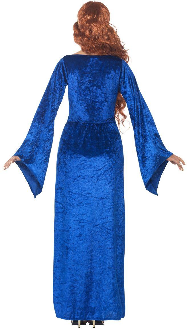 Blauwe middeleeuwse vrouwen jurk