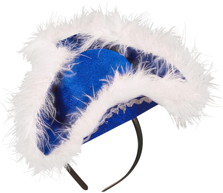 Blauwe mini tricorn hoed met marabou