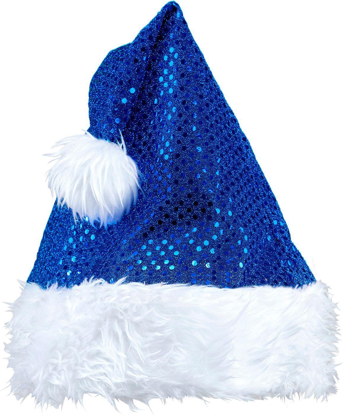 Blauwe pailletten kerstmuts