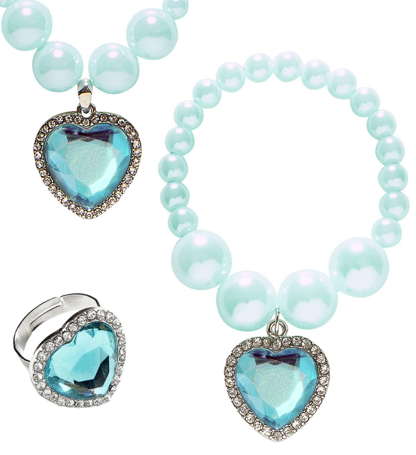 Blauwe parel sieraden set
