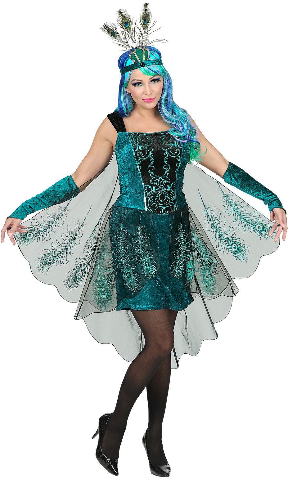 Blauwe pauw jurk dames