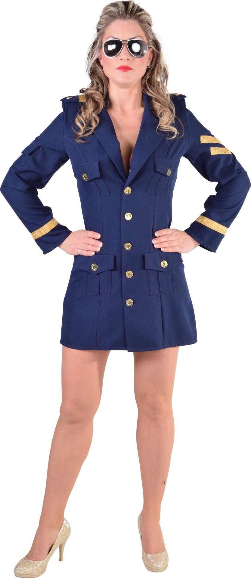 Blauwe piloten jurk dames
